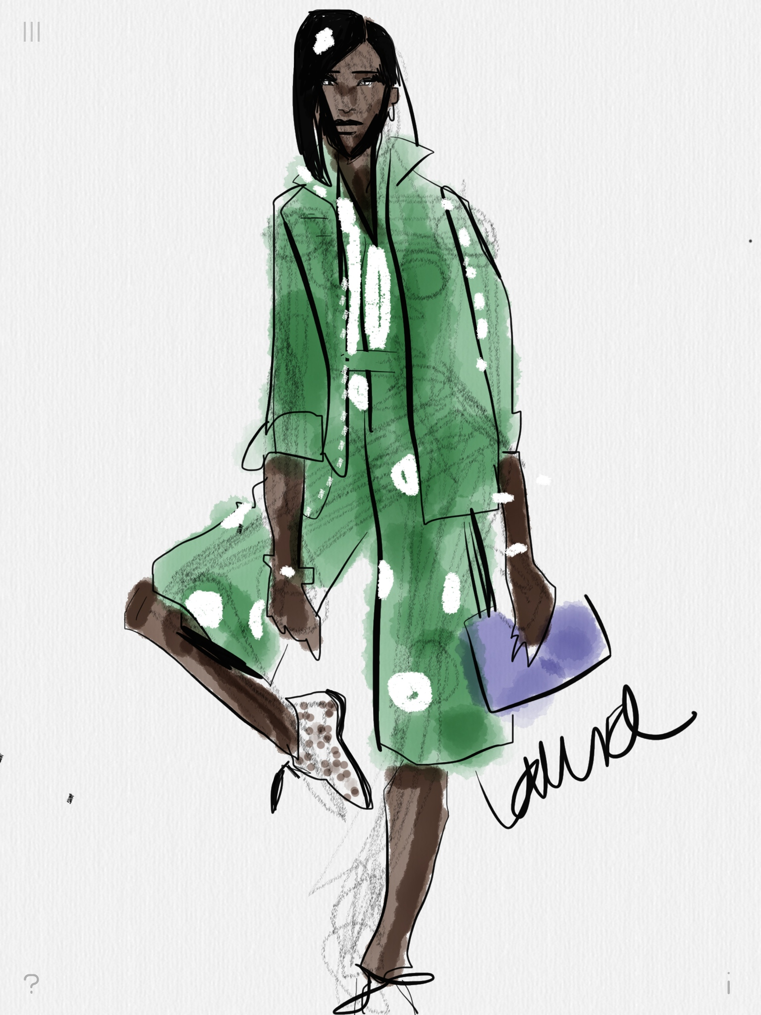 Digital fashion sketching with Tayasui Sketches app
